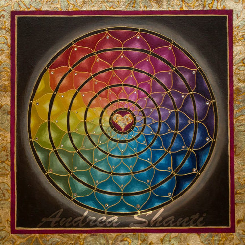 Earth Rainbow Mandala - Acrylic with Swarovski crystals w/ gold leaf