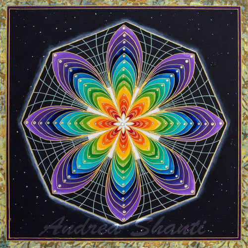 Galactic Rainbow Star - Acrylic w/ Swarovski Crystals and Gold Leaf