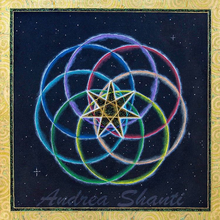 Galactic Septagram - Acrylic w/ Swarovski Crystals and Gold Leaf