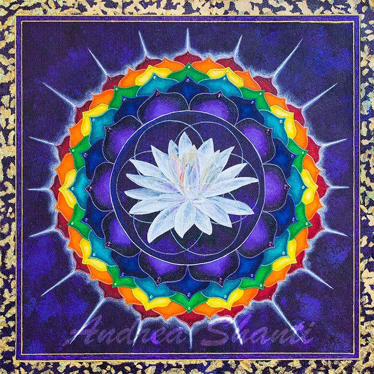 7th Chakra- Sahasrara- Crown - Acrylic w/ Swarovski Crystals and Gold Leaf