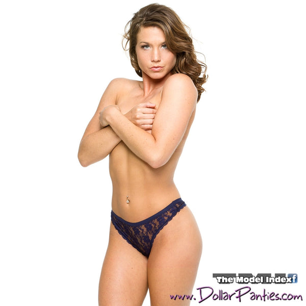 Midnight Blue Lace Thong