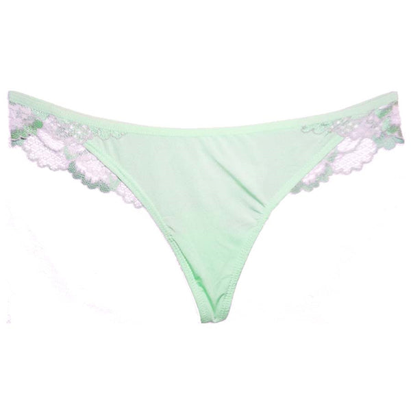 Mint Green & Silver Lace Thong