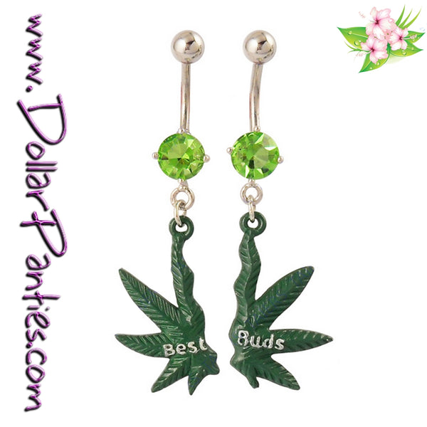 Best Friends Best Buds - Marijuana Pot Leaf Naval Jewelry belly rings - matching pair