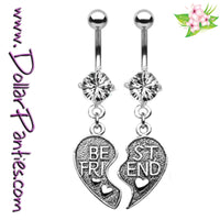 Best Friends broken HEART - CLEAR Naval Jewelry belly rings - matching pair