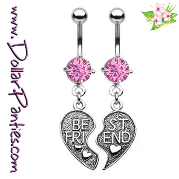 Best Friends broken HEART - PINK Naval Jewelry belly rings - matching pair