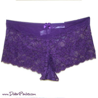 Sheer Top Rich Plum Wine Lace Plus Size Boyshort
