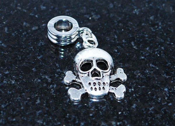Pirate skull and cross bones ready for snake type charm bracelet