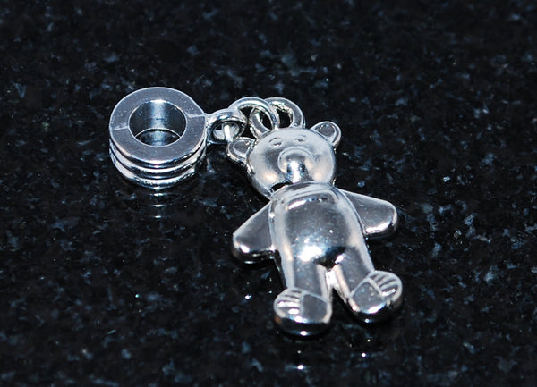 Teddy bear charm ready for snake type bracelet