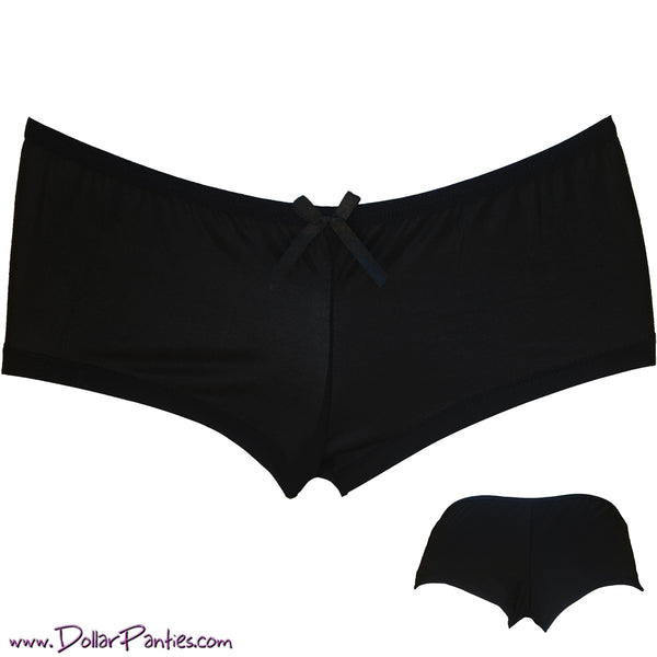 Your New Favorite Pair - black silky soft cheeky bottom boyshort