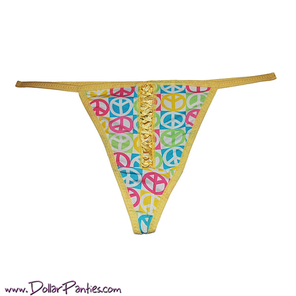 Fun and Colorful PEACE SIGN  G-String Thong