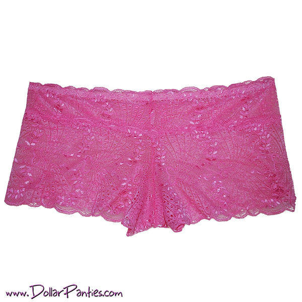 Plus Size Coral Pink soft lace boyshort
