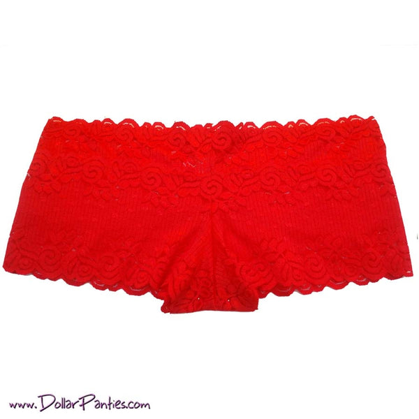 Lipstick Red Soft Cotton & Lace Plus Size Boyshort
