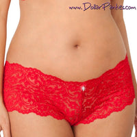 Soft and Sexy Red Lace Boyshort with Rhinestone
