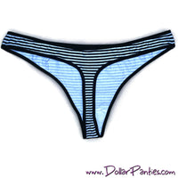White & Black Striped Cotton Thong