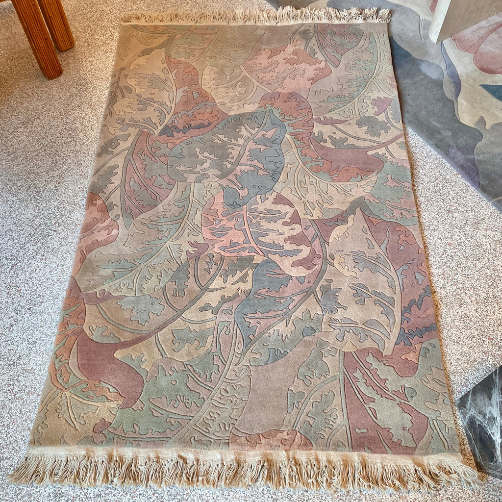 Vintage Hand Carved Wool Rug
