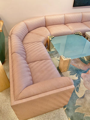 1980's Custom-Made Pink Silk Sectional Sofa