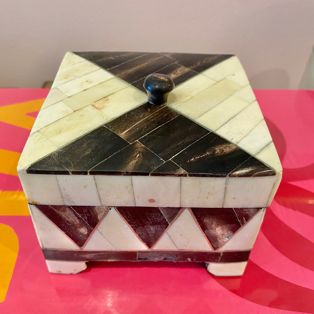 Vintage Bone Inlay Trinket Box