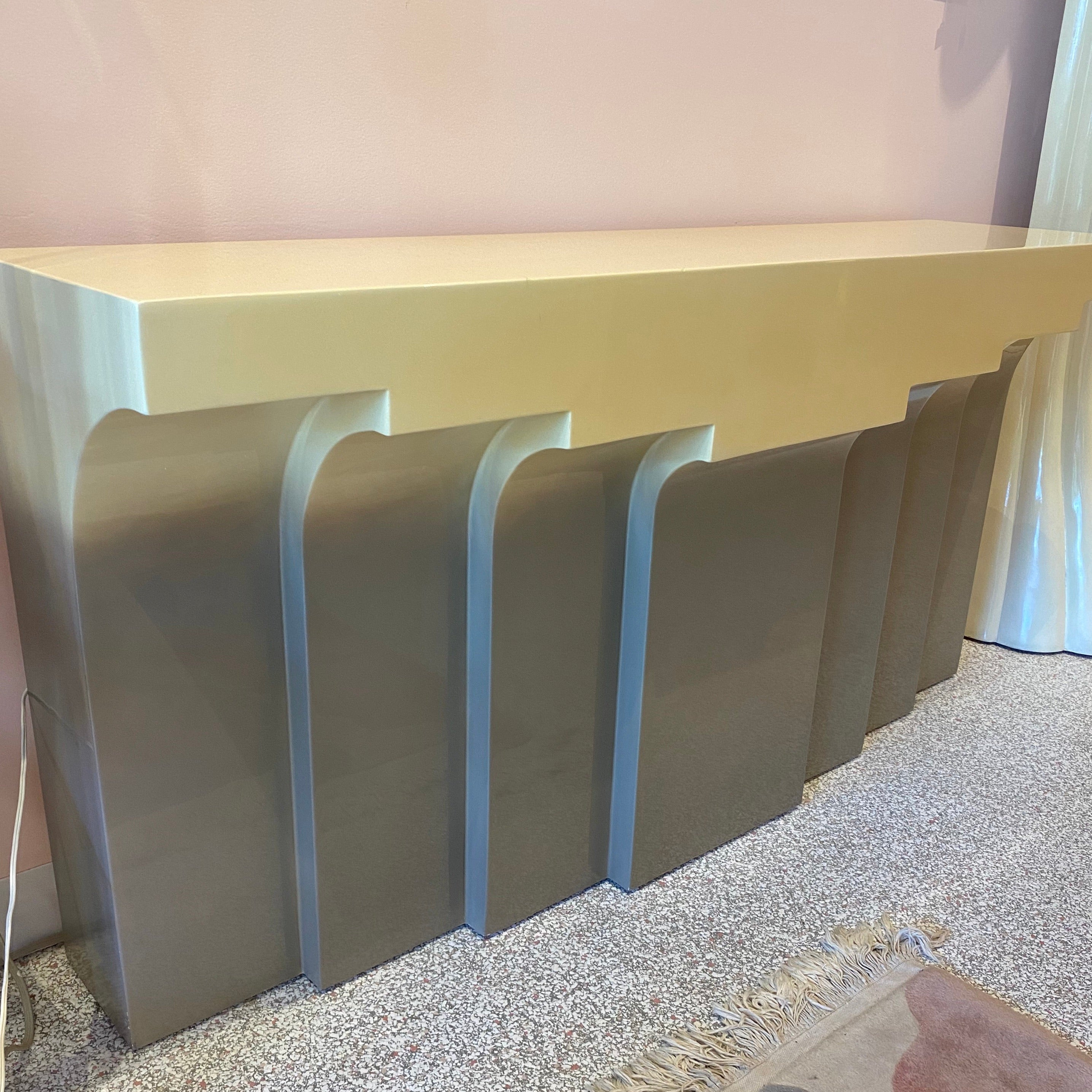 Karl Springer Style Lacquer Stepped Console Table