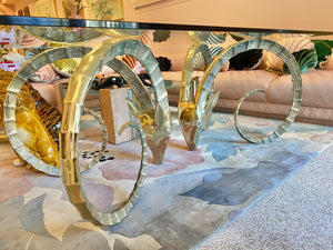 1970's Glass and Brass Ibex Head Dining Table