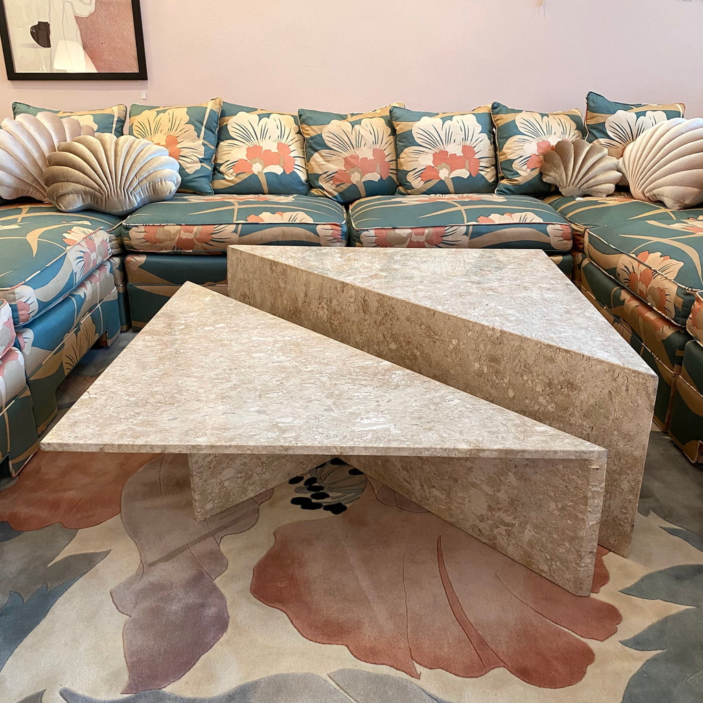 Two Piece Triangular Travertine Coffee Table