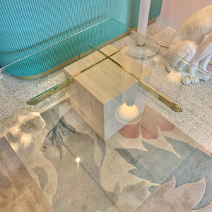 Vintage Travertine Cantilever Coffee Table