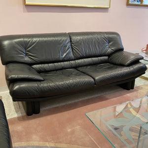 1980's Black Italian Leather Sofa
