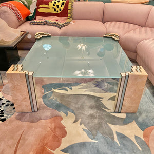 Maitland Smith Style Glass and Marble Coffee Table
