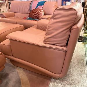 1980's Italian Mauve Leather Armchair and Ottoman by Salotti