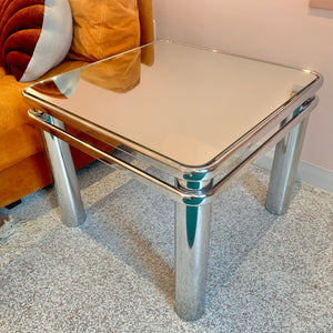 Mid Century Chrome and Mirrored Side Table