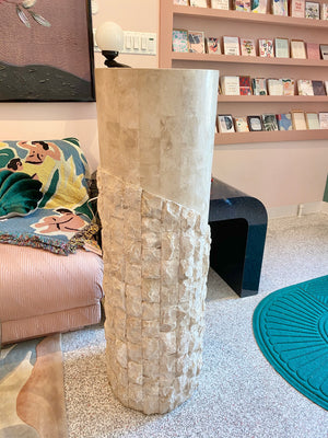 Vintage Tessellated Travertine Pedestal