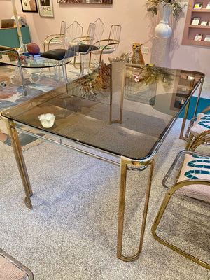 Italian Brass, Chrome and Smoked Glass Dining Table by Morex