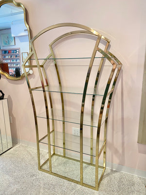 Vintage Brass and Glass Arched Etagere