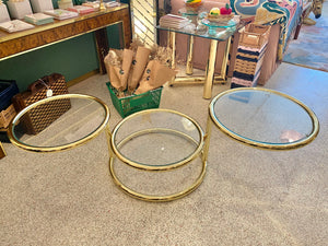 Vintage Brass and Glass Swiveling Coffee Table