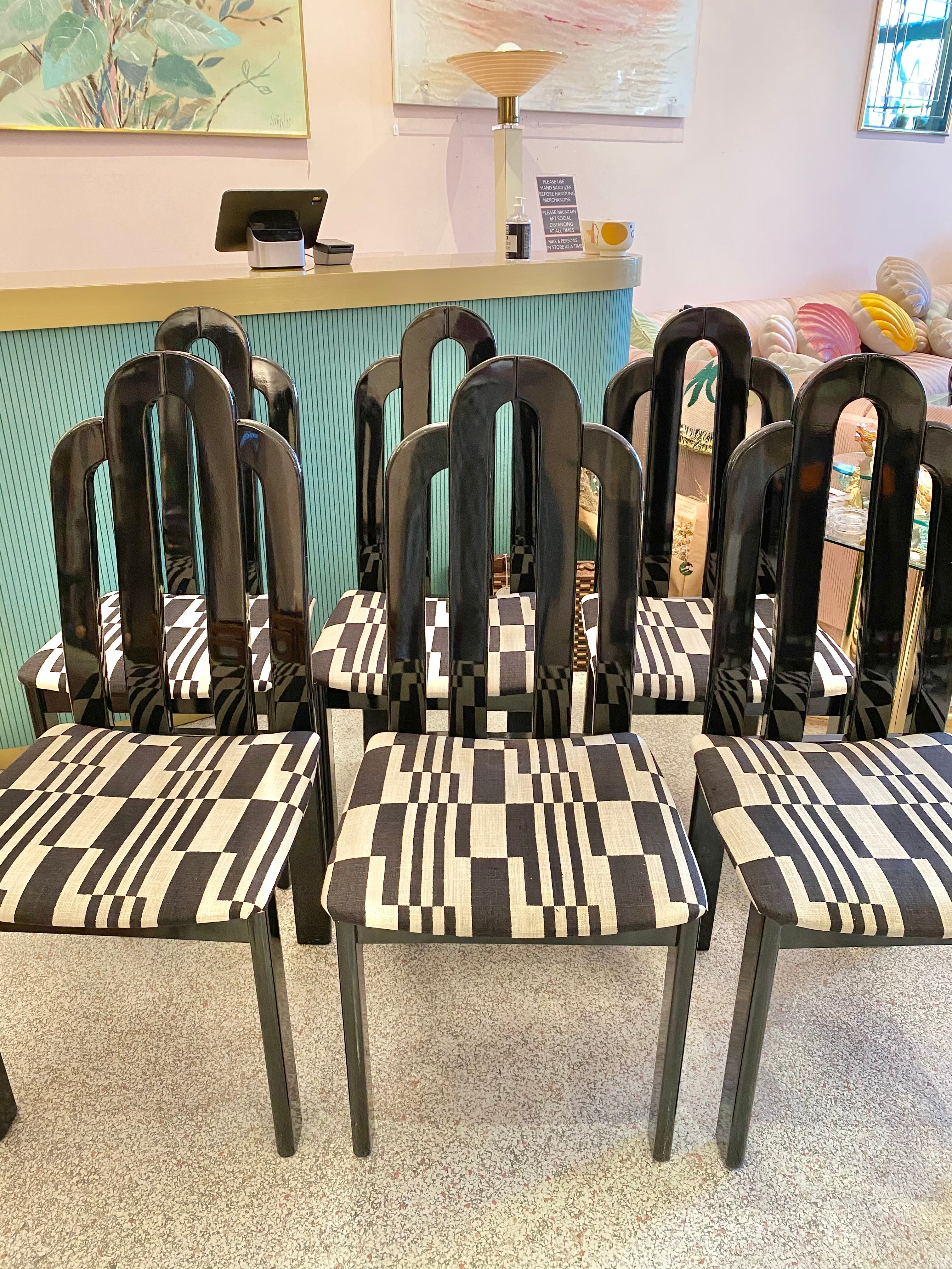 Set of six 1980's Italian Black Lacquer Dining Chairs