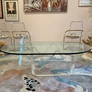 Lucite and Glass Iceberg Coffee Table Attributed to Lion in Frost
