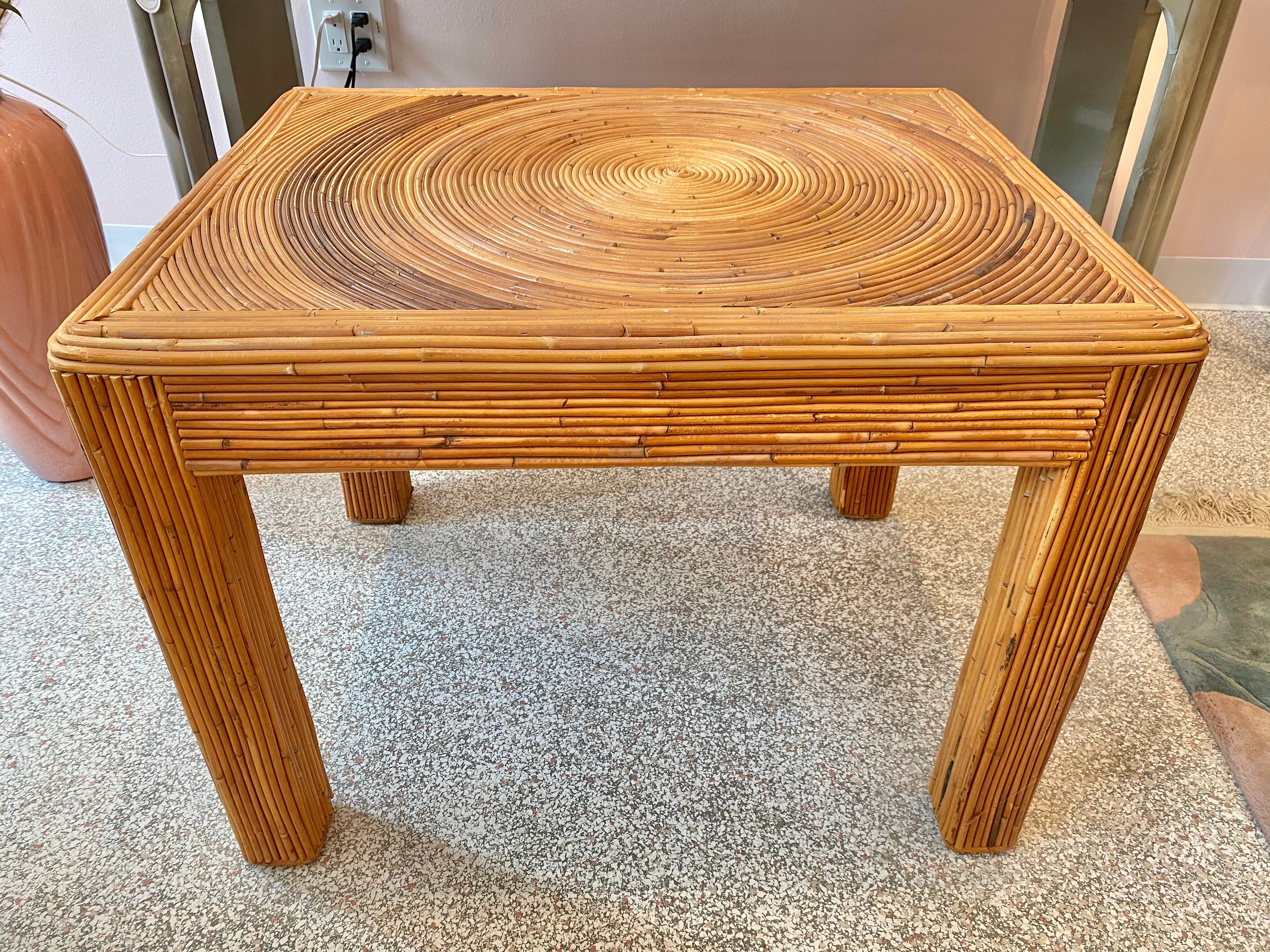 Vintage Gabriella Crespi Style Pencil Reed Nesting Side Tables