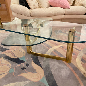Vintage Pace Style Glass and Brass Coffee Table