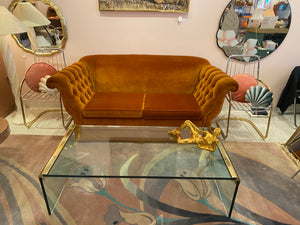 Vintage Pace Waterfall Glass Brass Coffee Table