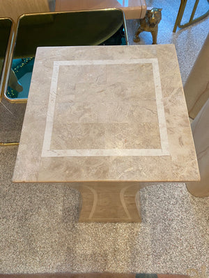 Vintage Tessellated Travertine Pedestal by Marquis Collection