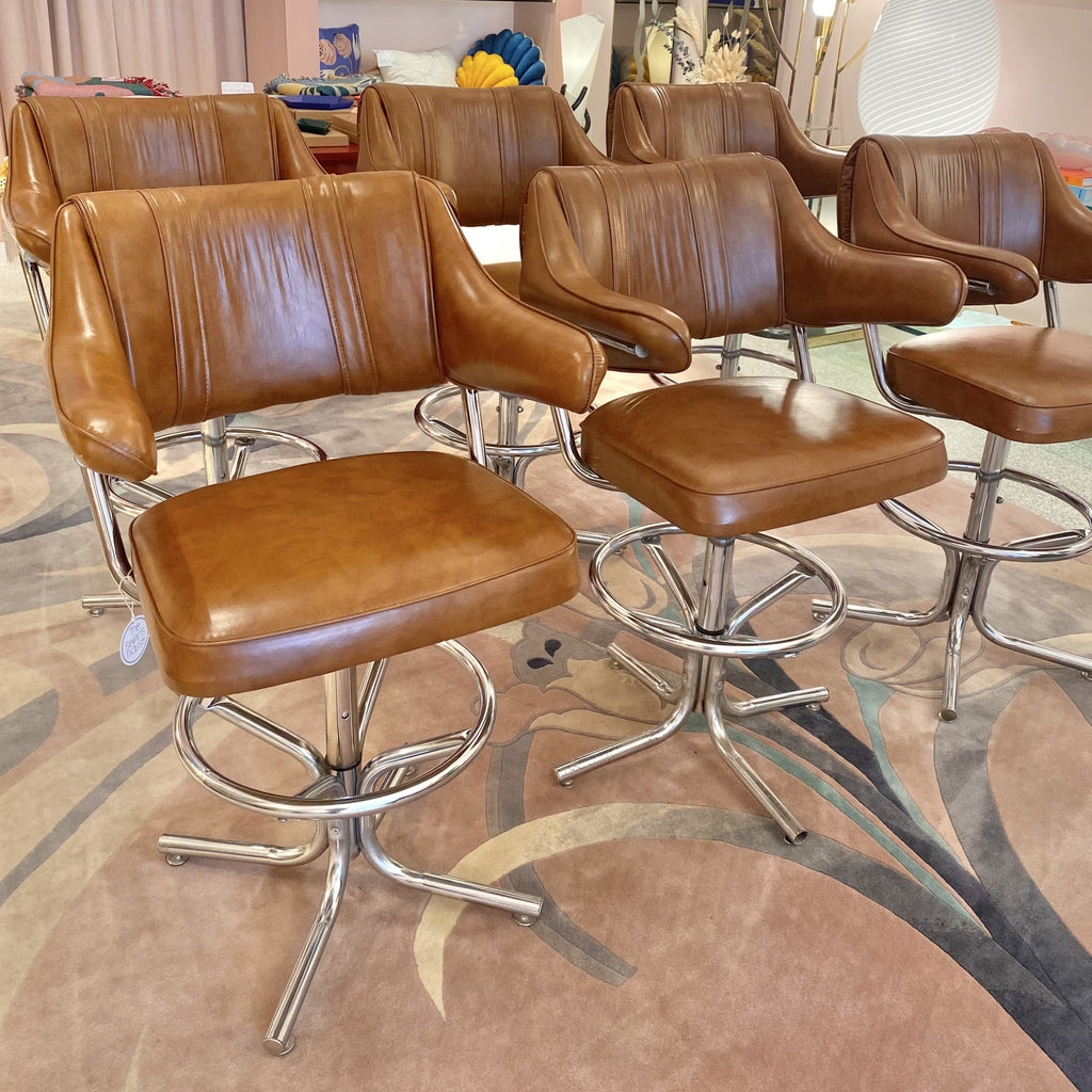 Vintage Cognac Vinyl Bar/Counter Chairs