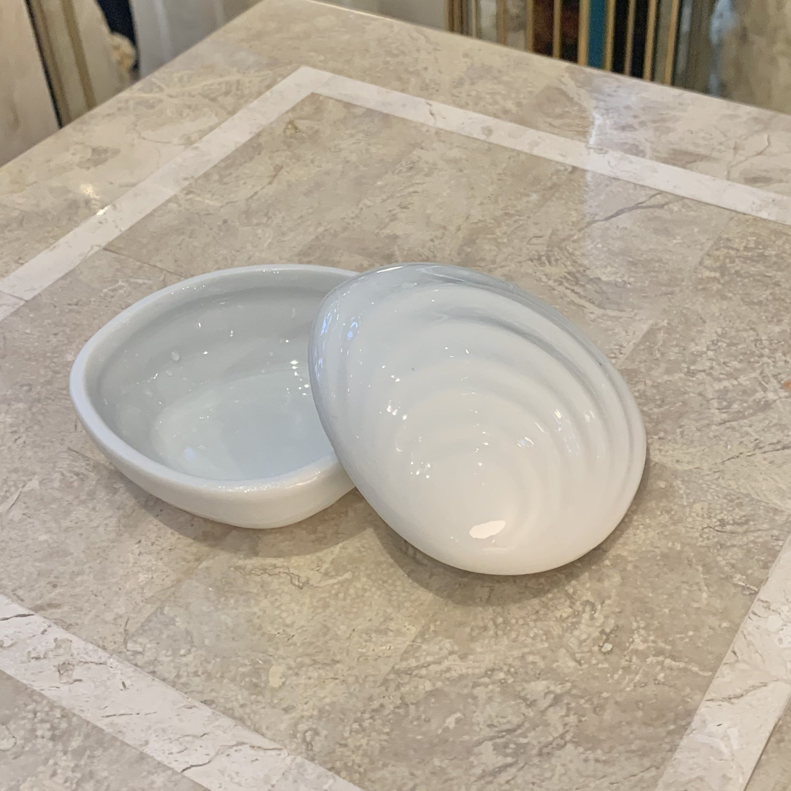 Vintage White Ceramic Clam Shell Dish