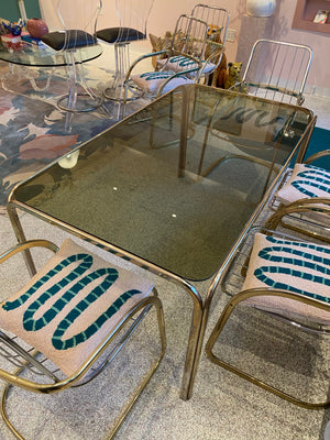 Vintage Smoked Glass and Brass Dining Table