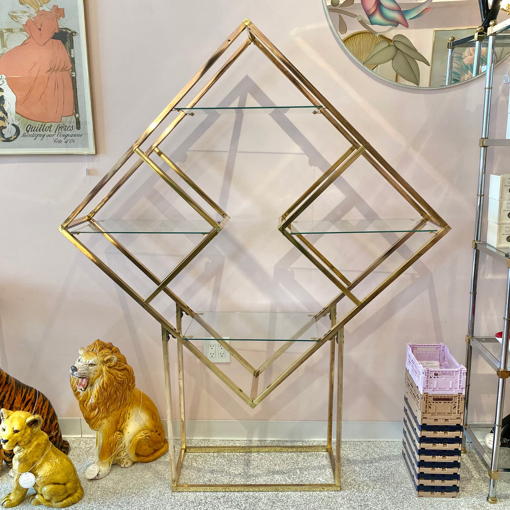 Vintage Brass and Glass Diamond Etagere