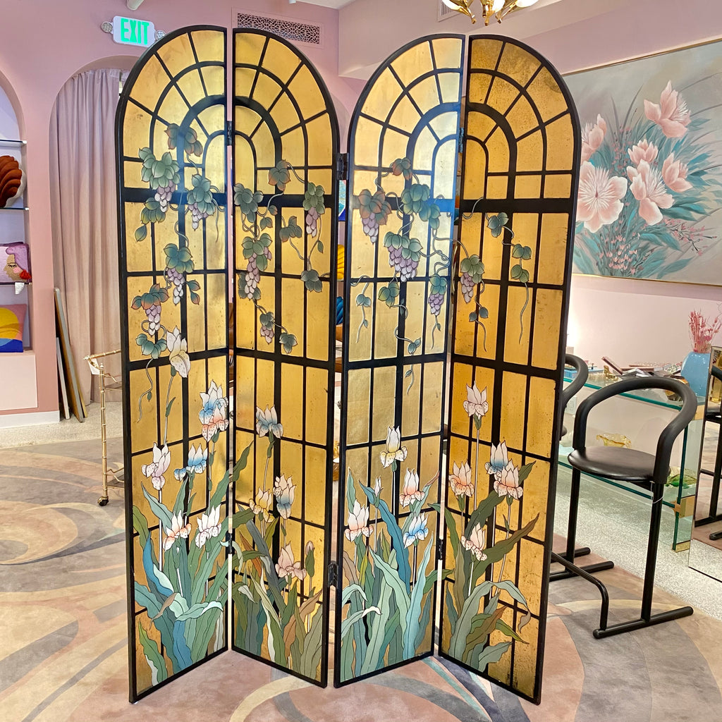 Vintage Arched Gold Leaf Chinoiserie Screen