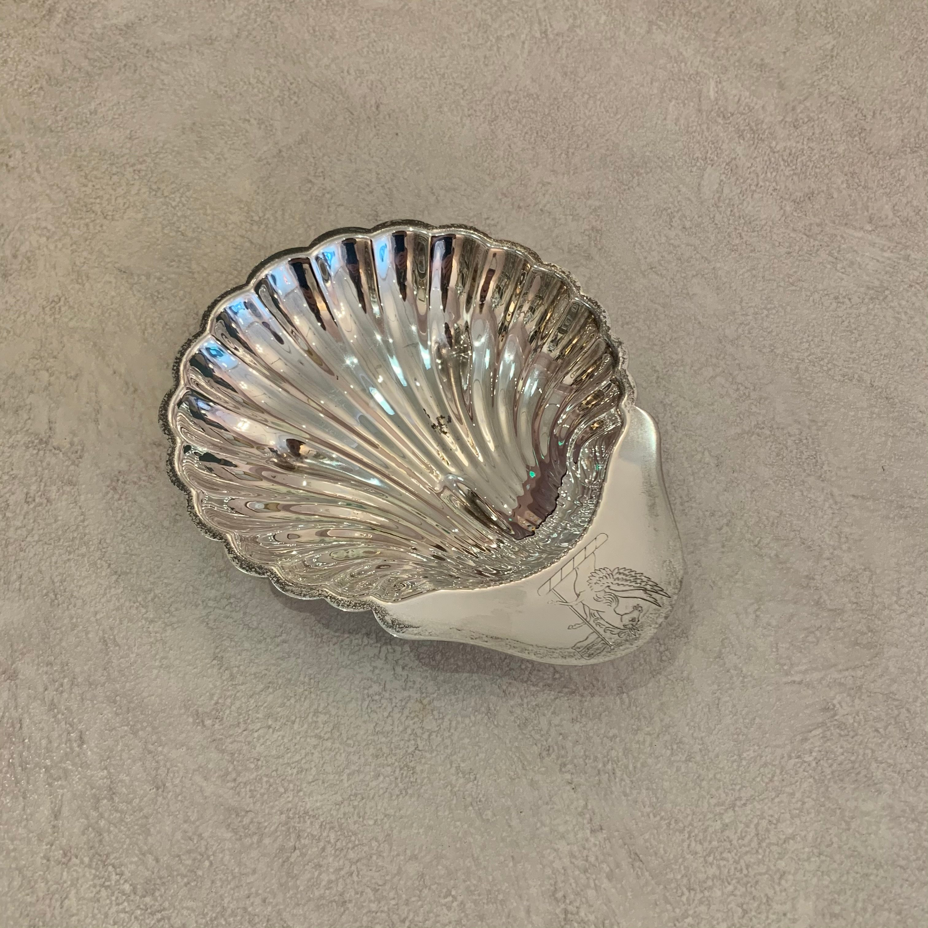 Small Vintage Silver Shell Platter