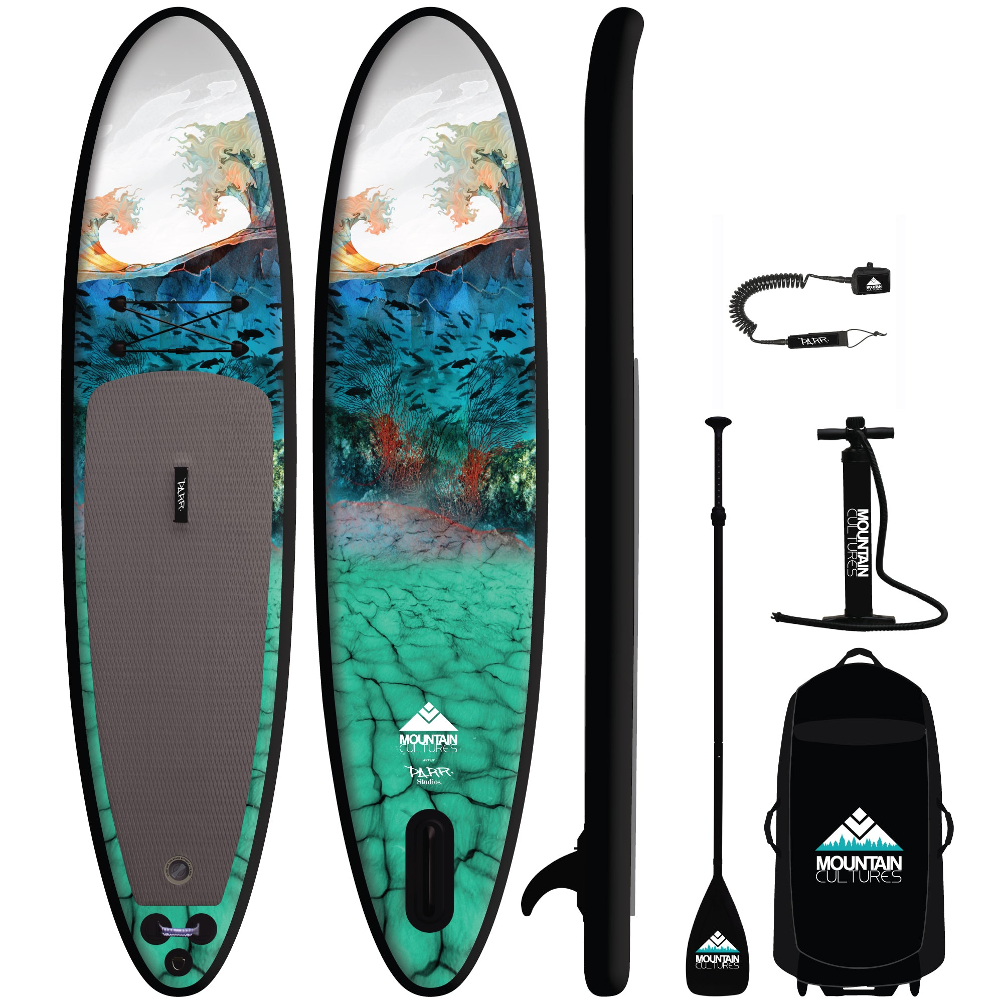 2021 MC/PARR Inflatable 11.0  Paddle Board Package - BLACK RAIL
