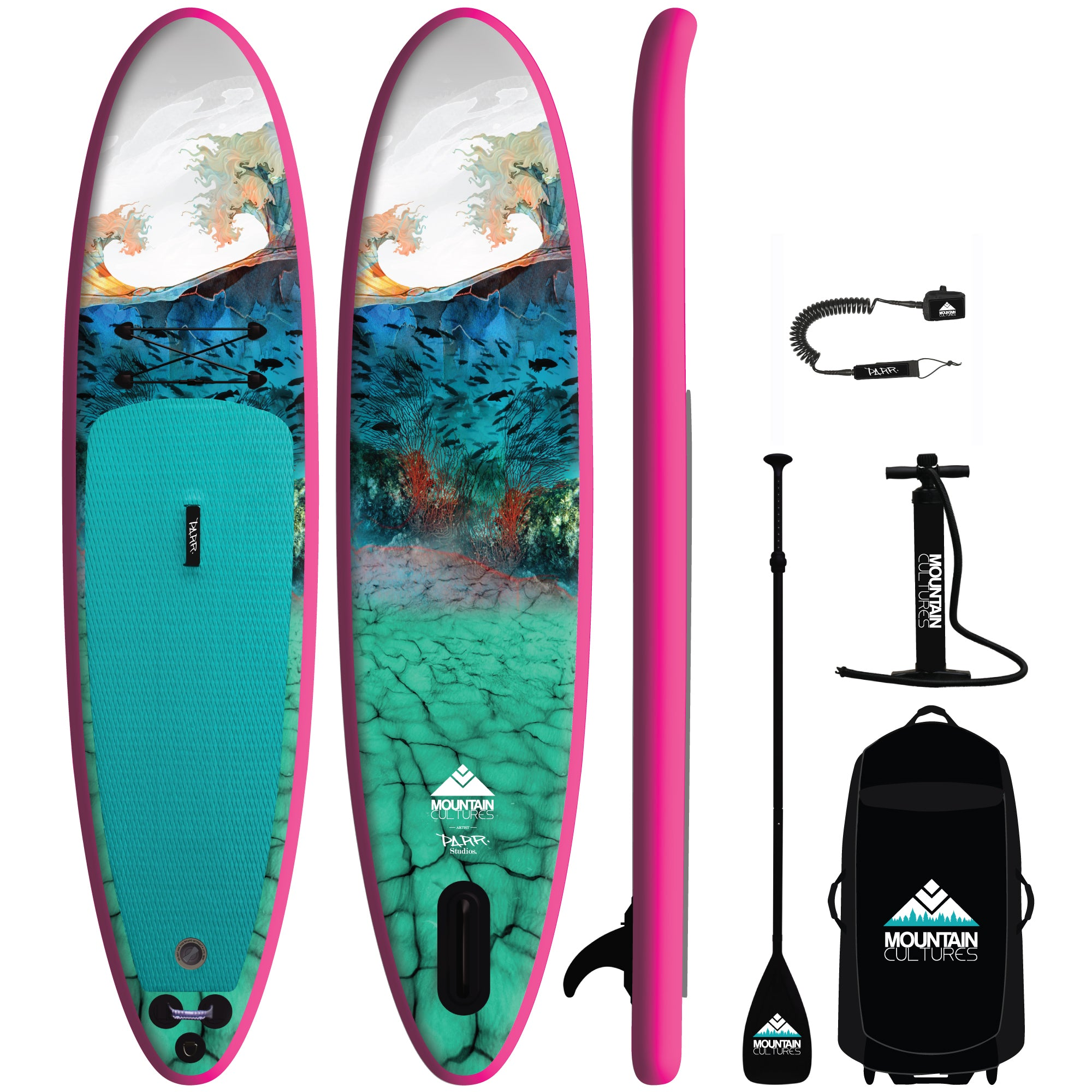 2021 MC/PARR Inflatable 11.0  Paddle Board Package - PINK RAIL
