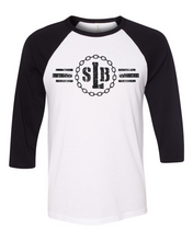 Load image into Gallery viewer, Unisex 3/4 Sleeve Raglan Tee - SLB Logo Double-Sided White w/ Black Sleeves