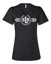 Load image into Gallery viewer, Women's Relaxed Fit Short-Sleeve V-Neck - SLB Logo Double-Sided Black Tee