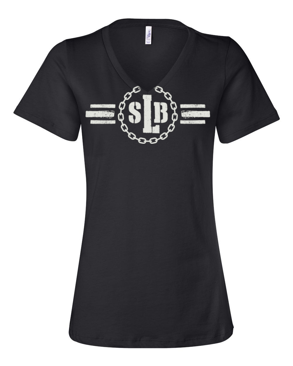Women's Relaxed Fit Short-Sleeve V-Neck - SLB Logo Double-Sided Black Tee